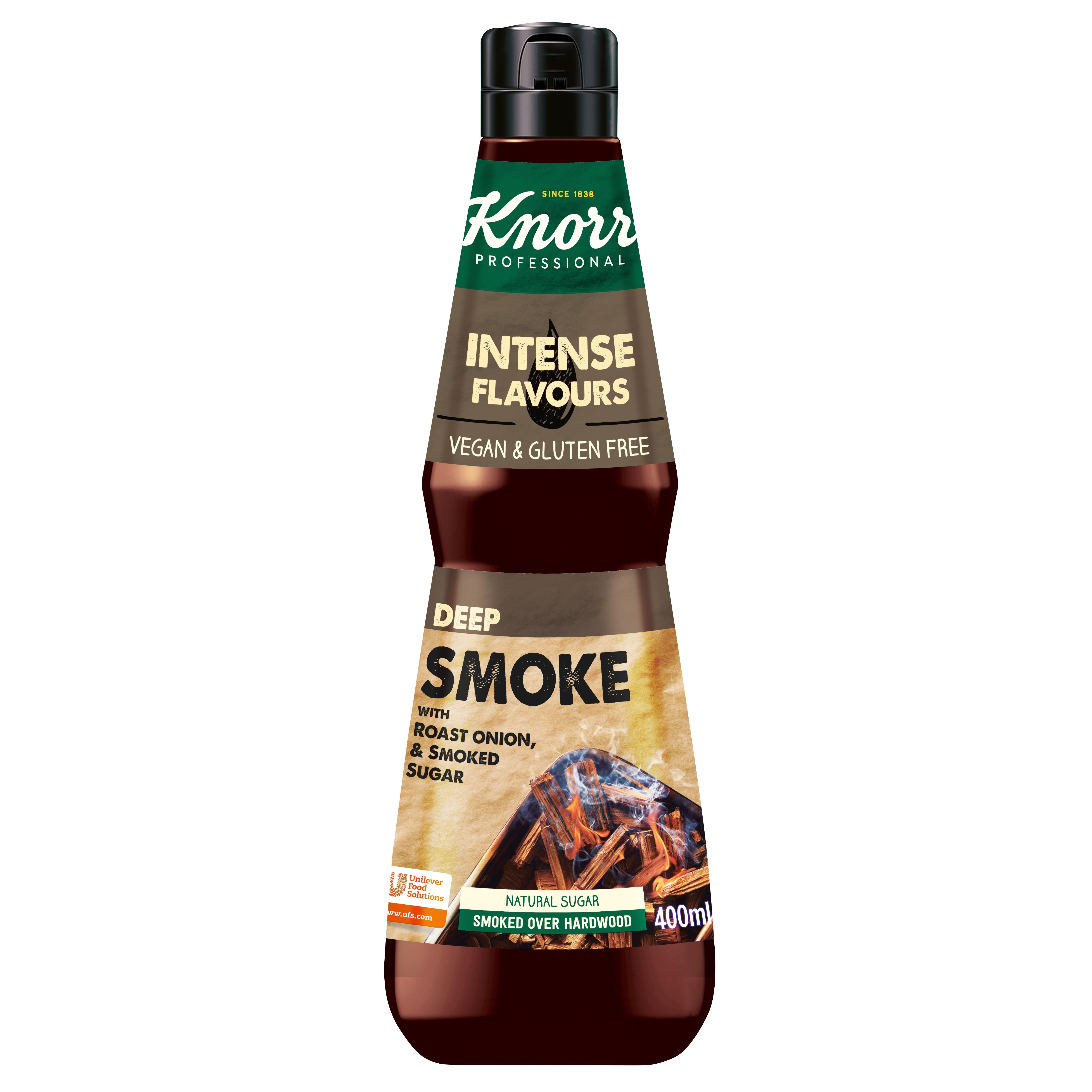 Knorr moč okusa - Deep smoke - aroma dima 400 ml - V plastenko ujete vznemirljive sestavine za fuzijo okusov.