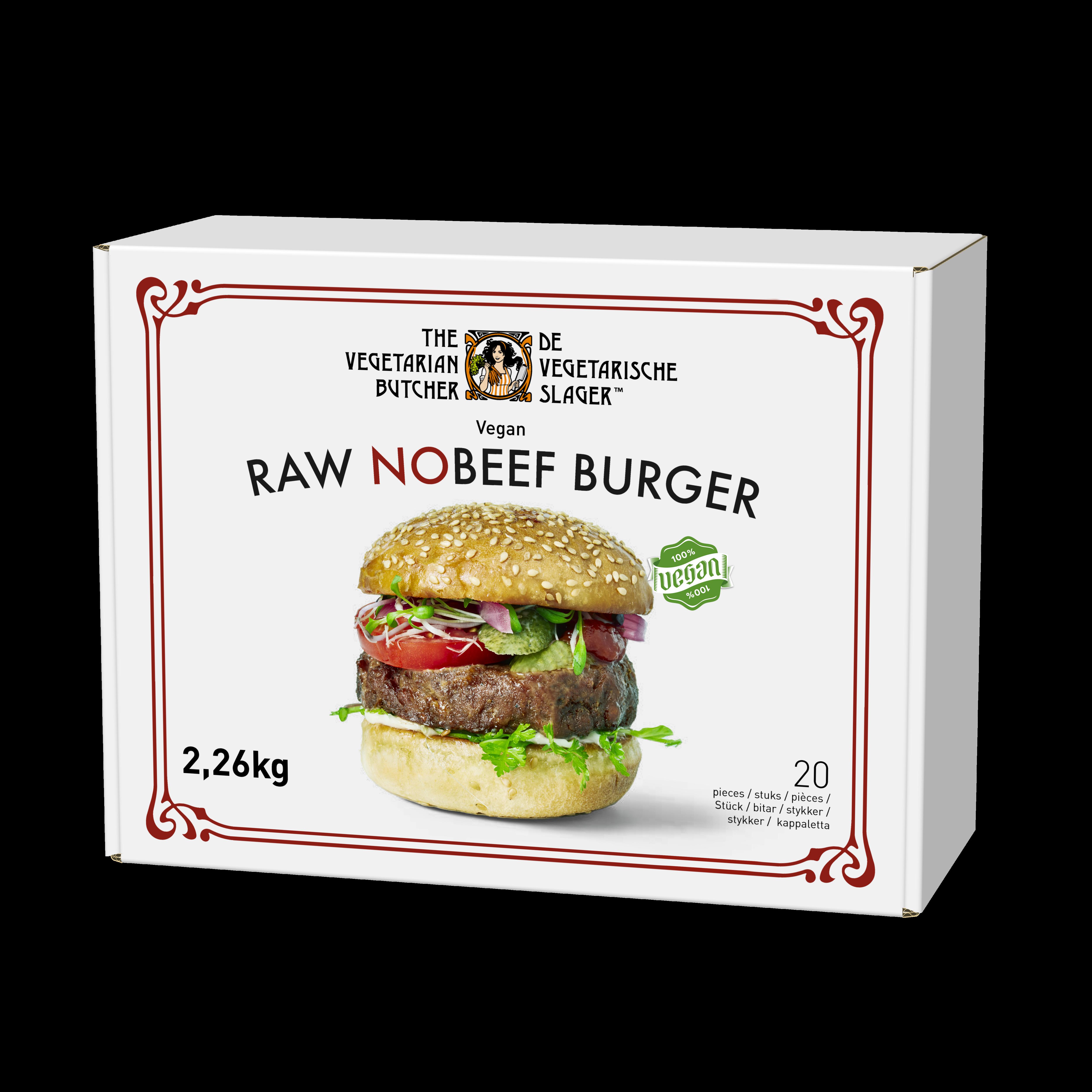 The Vegetarian Butcher Raw NoBeef Burger - Rastlinski polpet za burger 2,26 kg - Izdelki na osnovi rastlinskih beljakovin, okus in tekstura mesa